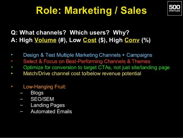 Role: Marketing / Sales Q: What channels? Which users? Why? A: High Volume (#), Low Cost ($), High Conv (%) • • • • •  Des...