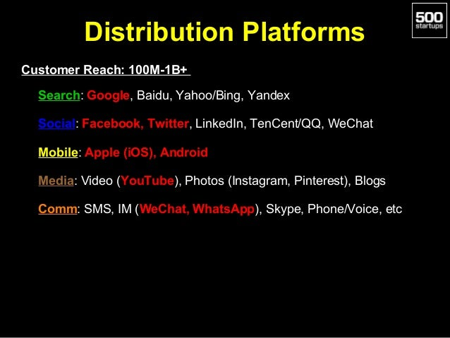 Distribution Platforms Customer Reach: 100M-1B+ •  Search: Google, Baidu, Yahoo/Bing, Yandex  •  Social: Facebook, Twitter...
