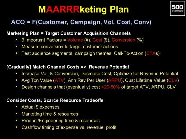 MAARRRketing Plan ACQ = F(Customer, Campaign, Vol, Cost, Conv) Marketing Plan = Target Customer Acquisition Channels • 3 I...