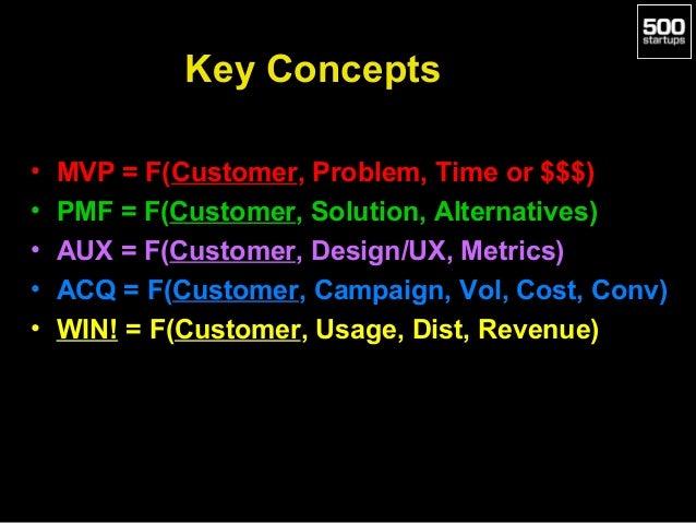 Key Concepts • • • • •  MVP = F(Customer, Problem, Time or $$$) PMF = F(Customer, Solution, Alternatives) AUX = F(Customer...