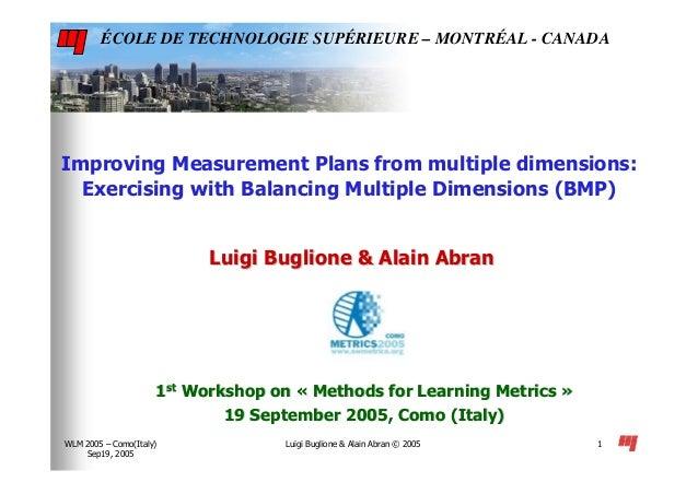 Luigi Buglione & Alain Abran © 2005WLM 2005 – Como(Italy) Sep19, 2005 1 Improving Measurement Plans from multiple dimensio...