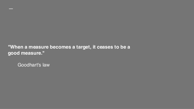 """""""When a measure becomes a target, it ceases to be a good measure."""" Goodhart's law"""