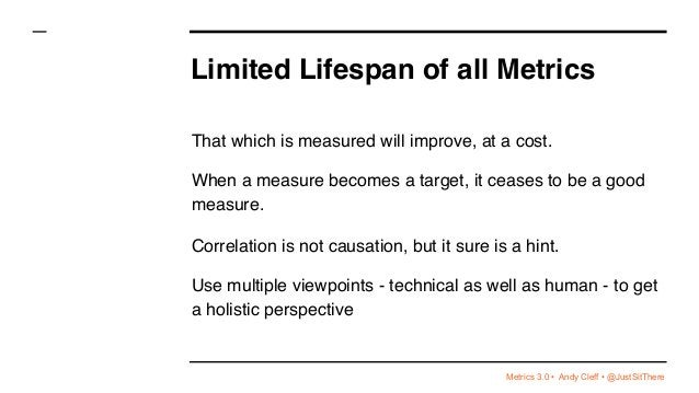 Metrics 3.0 • Andy Cleff • @JustSitThere Limited Lifespan of all Metrics That which is measured will improve, at a cost. W...
