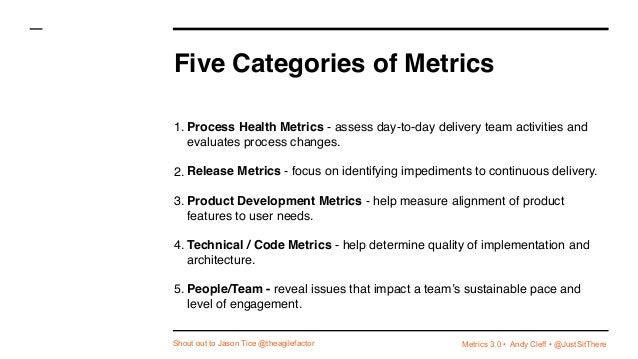 Metrics 3.0 • Andy Cleff • @JustSitThere Five Categories of Metrics 1. Process Health Metrics - assess day-to-day delivery...