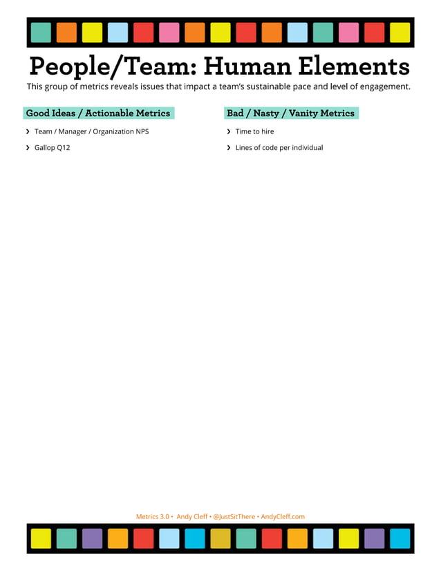 Metrics 3.0 • Andy Cleff • @JustSitThere • AndyCleff.com Process Health Metrics Good Ideas / Actionable Metrics ›› Cumulat...