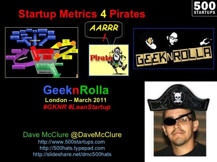 Startup Metrics  4  Pirates Geek n Rolla London – March 2011   #GKNR #LeanStartup Dave McClure  @DaveMcClure http://www.50...