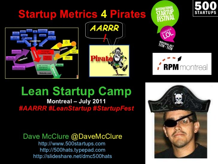Startup Metrics  4  Pirates Lean Startup Camp Montreal – July 2011 #AARRR #LeanStartup #StartupFest Dave McClure  @DaveMcC...