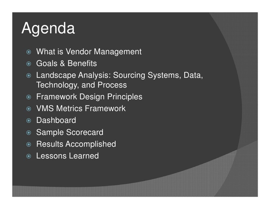Metrics For Vendor Management V