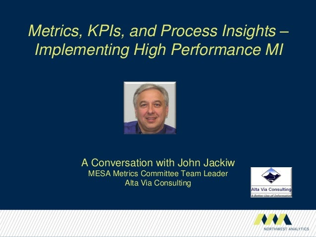 Metrics, KPIs, and Process Insights –Implementing High Performance MIA Conversation with John JackiwMESA Metrics Committee...