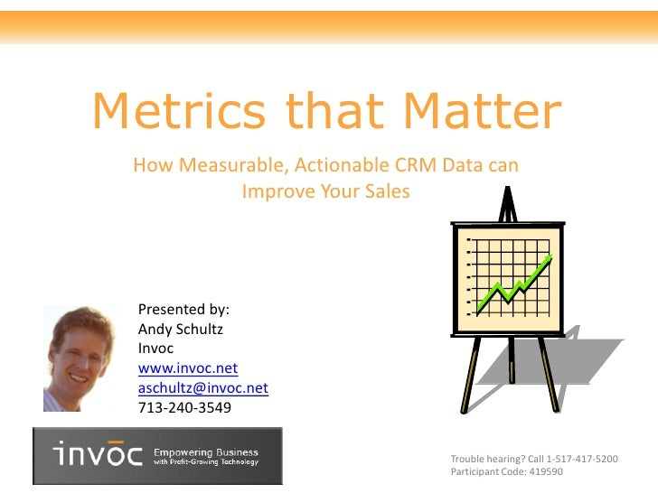 Metrics that Matter  How Measurable, Actionable CRM Data can           Improve Your Sales      Presented by:  Andy Schultz...