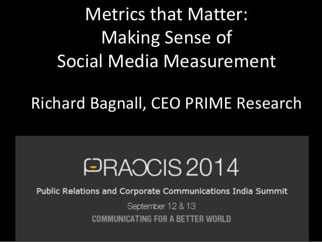 Metrics that Matter:  Making Sense of  Social Media Measurement  Richard Bagnall, CEO PRIME Research