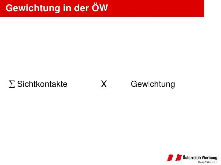 Gewichtung in der ÖW  Sichtkontakte   X    Gewichtung                                    OlafNitz.net
