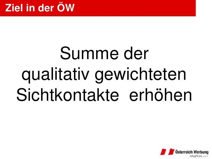 Ziel in der ÖW        Summe der  qualitativ gewichteten  Sichtkontakte erhöhen                       OlafNitz.net