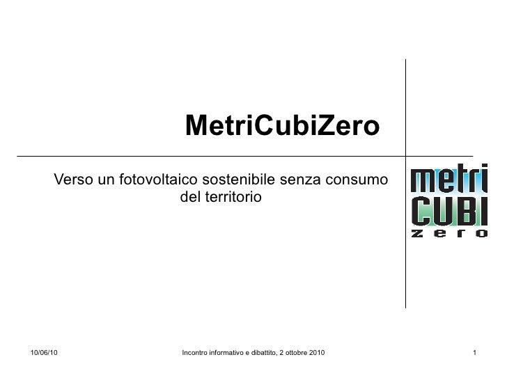 Metri Cubi Zero - Verso un Fotovoltaico Sostenibile