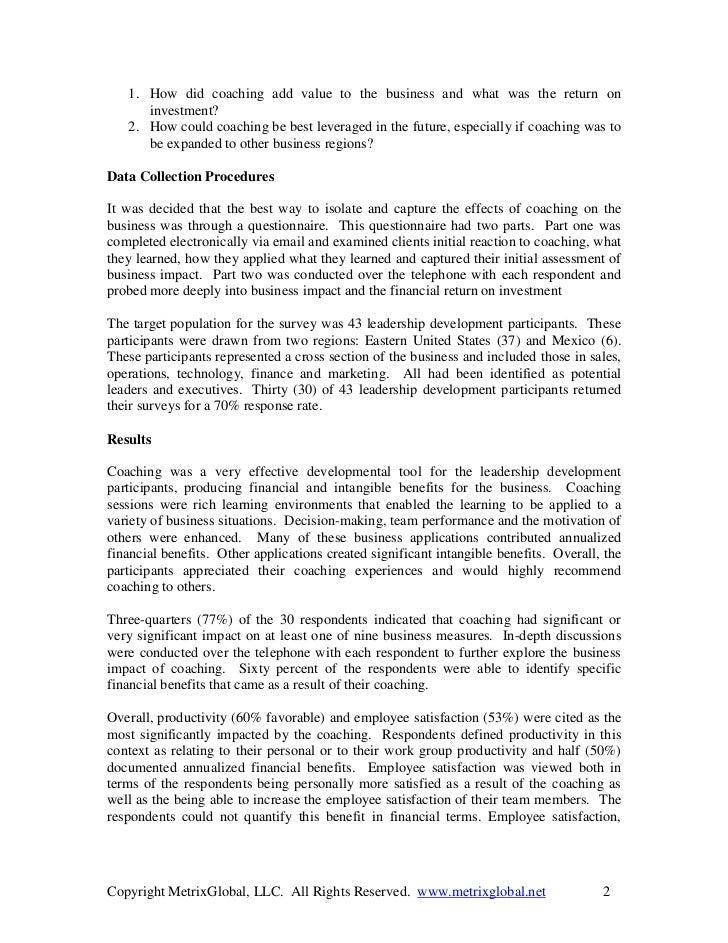 Metrix global coaching roi briefing Slide 2