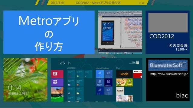 2012/6/9   COD2012 - Metroアプリの作り方   1/xxMetroアプリ   の                                           COD2012  作り方               ...