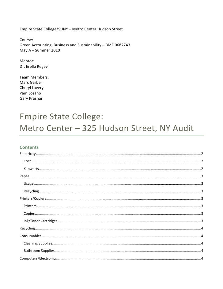 Empire State College/SUNY – Metro Center Hudson Street  Course: Green Accounting, Business and Sustainability – BME 068274...