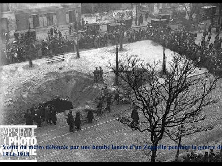 Voûte du métro défoncée par une bombe lancée d'un Zeppelin pendant la guerre de 1914-1918