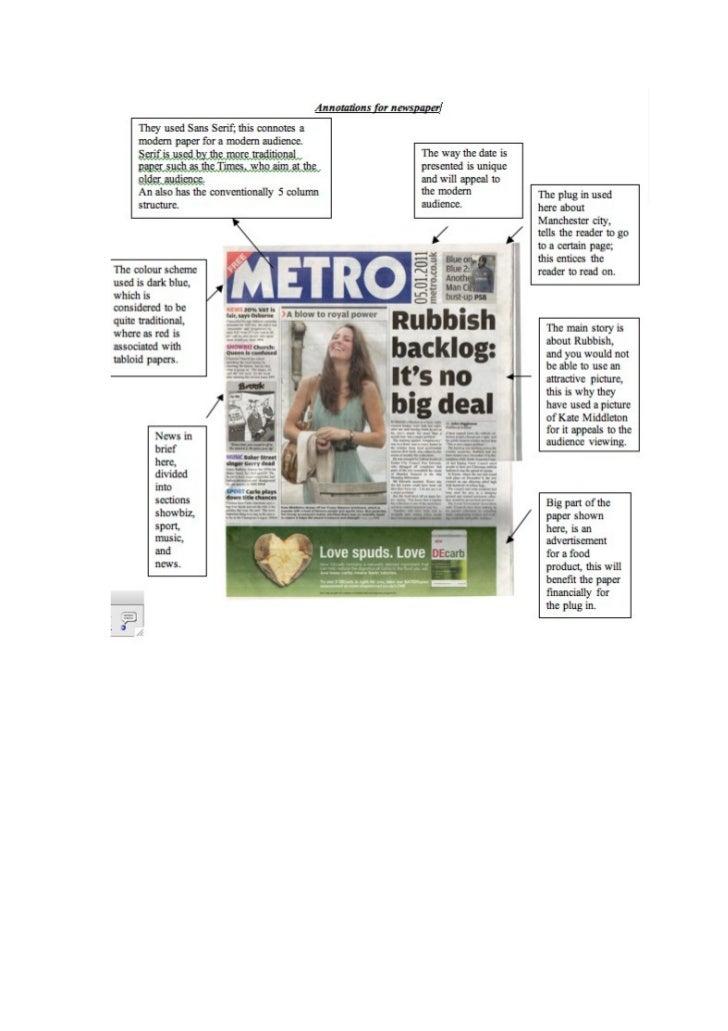 Metro newspaper annotations