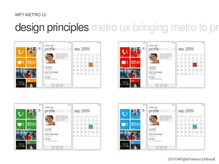 design principles metro ux bringing metro to practice what is metro <br />2011 © All Rights Reserved  to Microsoft<br />