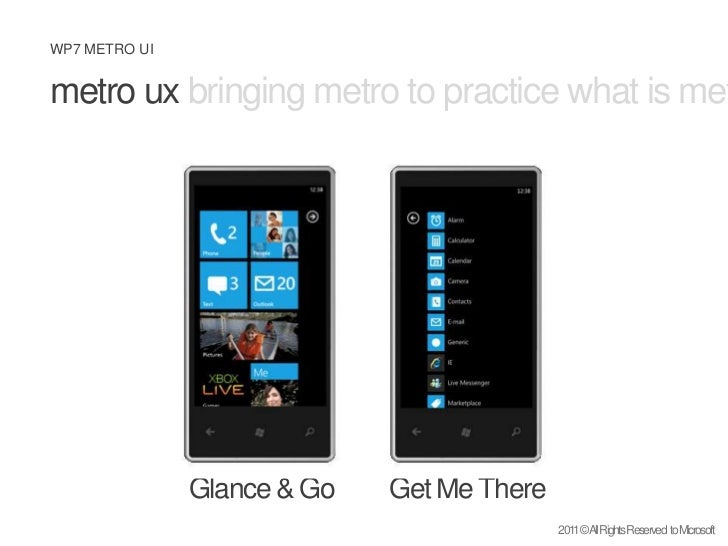 metro uxbringing metro to practice what is metro design principles<br />Glance & Go<br />Get Me There<br />2011 © All Righ...