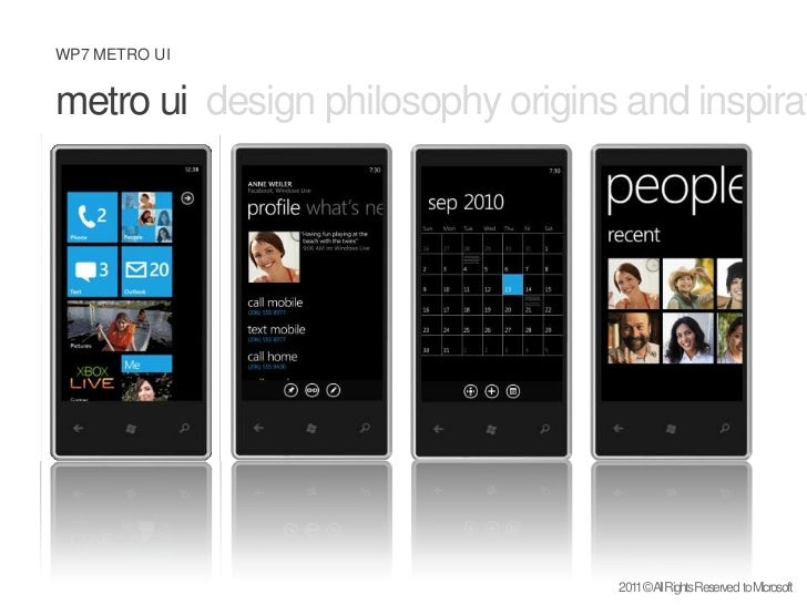 metro uidesign philosophy origins and inspiration windows mobile <br />2011 © All Rights Reserved  to Microsoft<br />