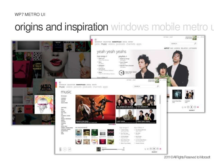 origins and inspiration windows mobile metro uidesign philosophy <br />2011 © All Rights Reserved  to Microsoft<br />