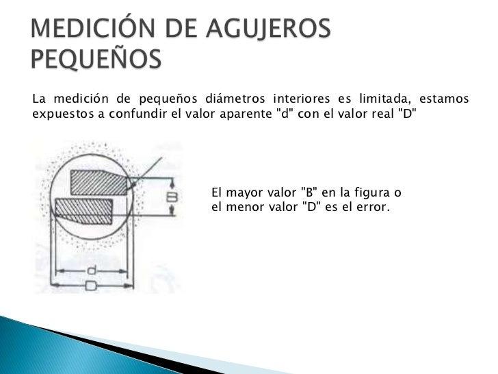 MEDICIÓN DE AGUJEROS PEQUEÑOS<br />La medición de pequeños diámetros interiores es limitada, estamos expuestos a confundir...