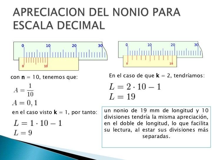 APRECIACION DEL NONIO PARA ESCALA DECIMAL<br />En el caso de que k = 2, tendríamos:<br />con n = 10, tenemos que:<br />un ...