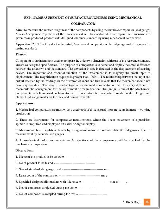 Mechanical Calibration Lab Manual