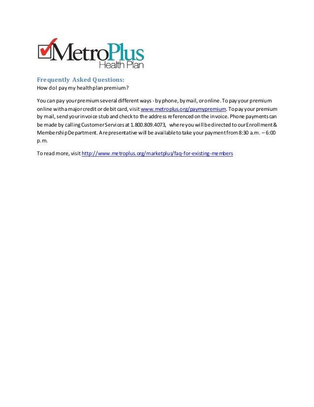 How Do I Pay My Health Plan Premium MetroPlus Health NYC Health In - Metroplus invoice number