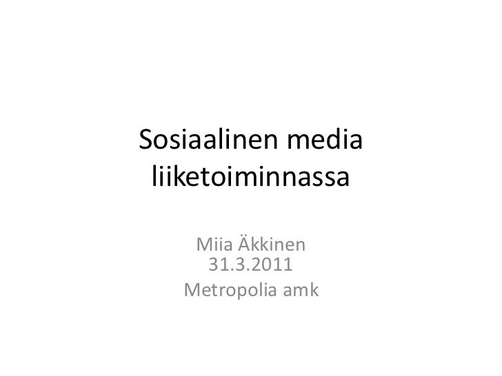 Sosiaalinen media liiketoiminnassa