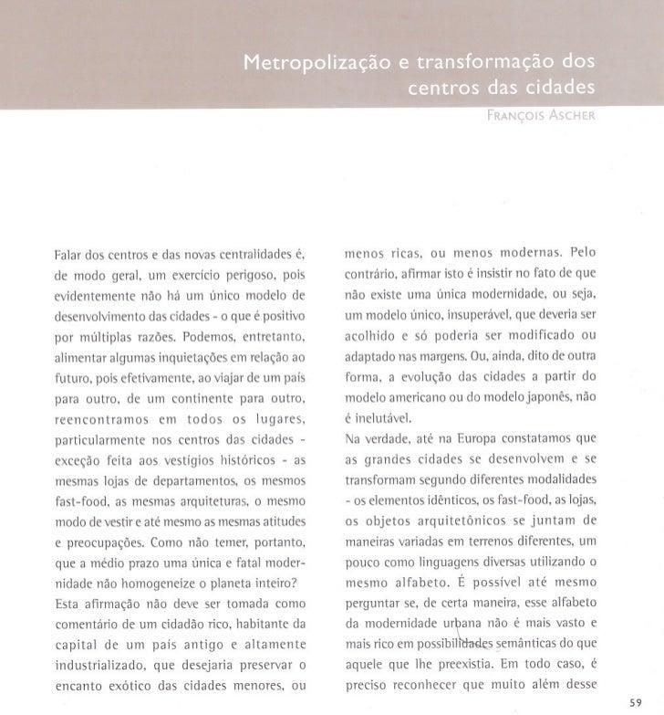 François Ascher - Metropolização e transformação dos centros das cidades