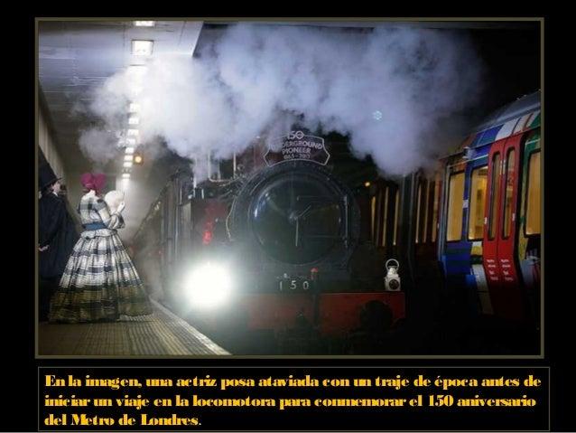 En la imagen, una actriz posa ataviada con un traje de época antes de iniciarun viaje en la locomotora para conmemorarel 1...