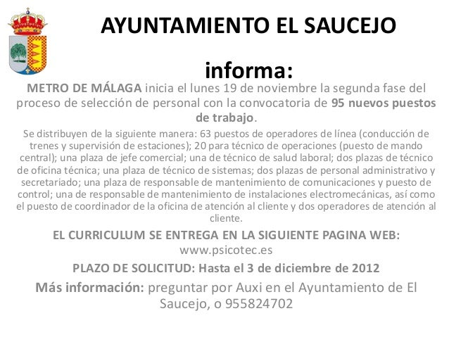 AYUNTAMIENTO EL SAUCEJO                                          informa:  METRO DE MÁLAGA inicia el lunes 19 de noviembre...