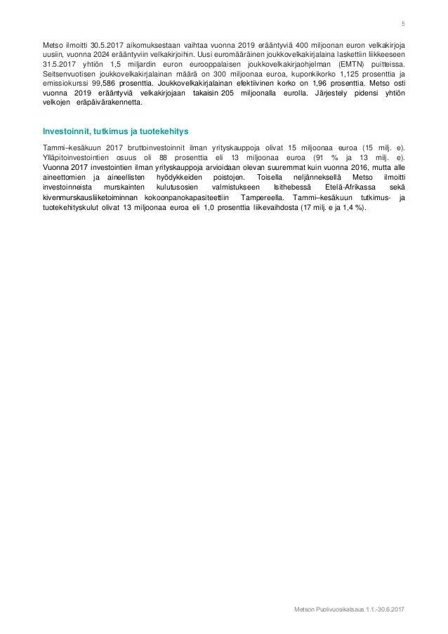Metso 2017 H1 Puolivuosikatsaus