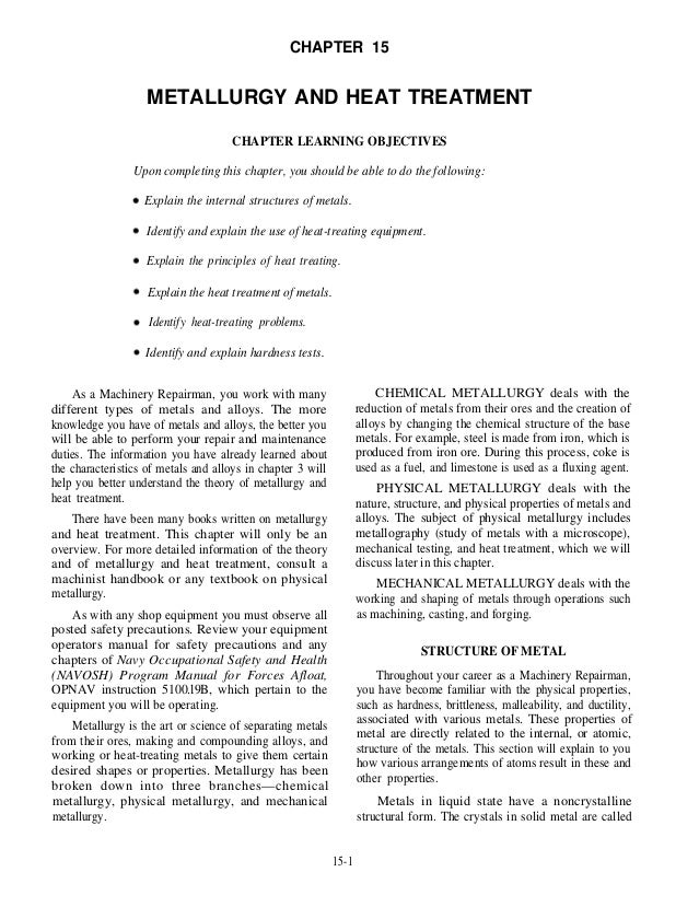 CHAPTER 15 METALLURGY AND HEAT TREATMENT CHAPTER LEARNING OBJECTIVES Upon completing this chapter, you should be able to d...