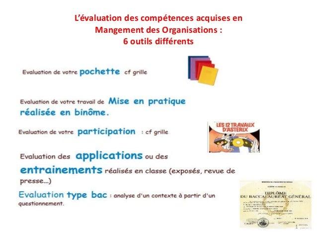 L'évaluation des compétences acquises en Mangement des Organisations : 6 outils différents  1