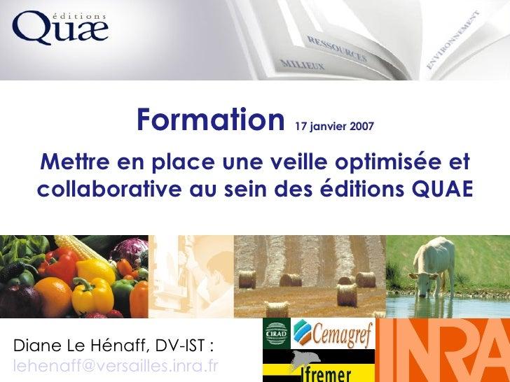 Formation  17 janvier 2007 Mettre en place une veille optimisée et collaborative au sein des éditions QUAE Diane Le Hénaff...