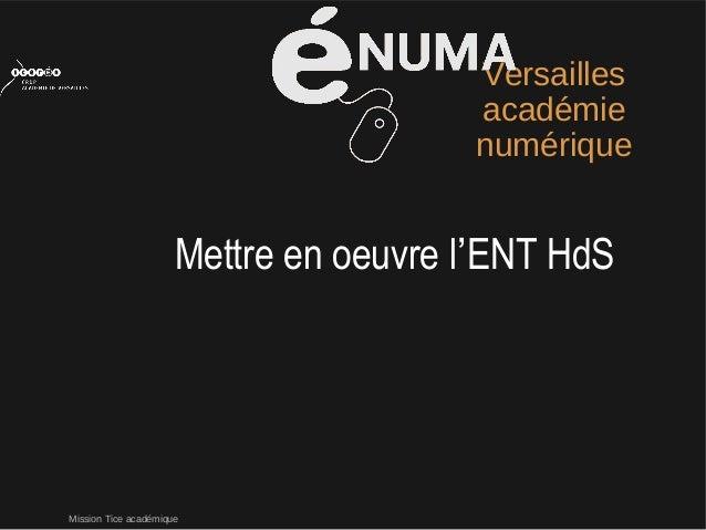 Mission Tice académiqueVersaillesacadémienumériqueMettre en oeuvre l'ENT HdS