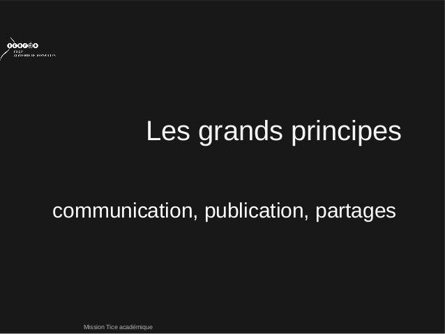 Mission Tice académiquecommunication, publication, partagesLes grands principes