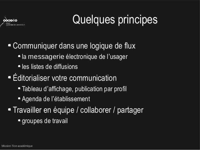 Mission Tice académiqueQuelques principesCommuniquer dans une logique de fluxla messagerie électronique de l'usagerles lis...