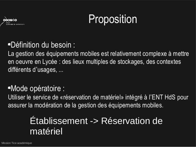 Mission Tice académiquePropositionDéfinition du besoin :La gestion des équipements mobiles est relativement complexe à met...