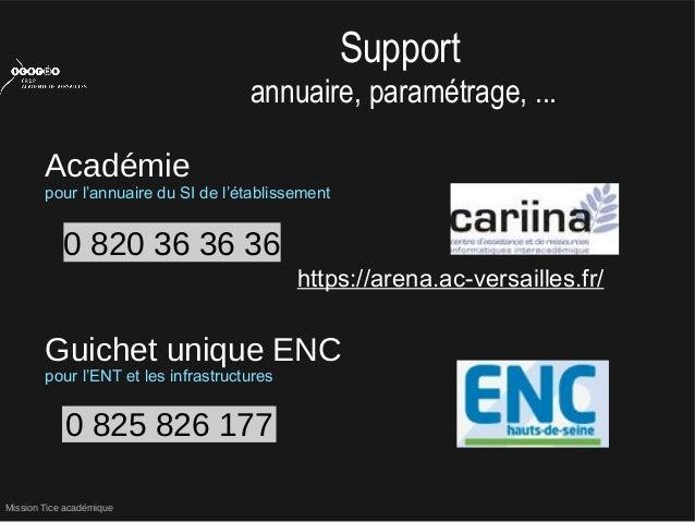 Mission Tice académiquehttps://arena.ac-versailles.fr/0 820 36 36 36Supportannuaire, paramétrage, ...Académiepour l'annuai...