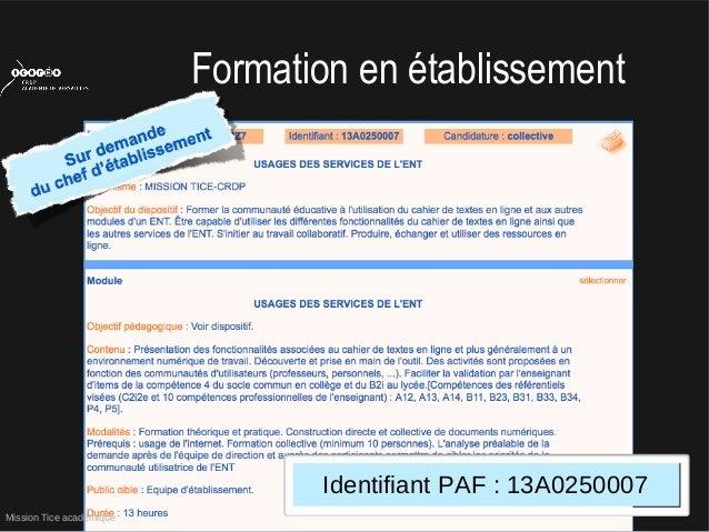Mission Tice académiqueFormation en établissementIdentifiant PAF : 13A0250007