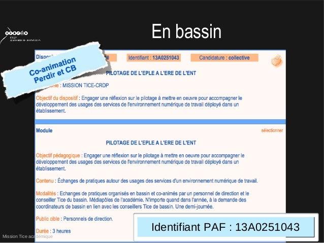 Mission Tice académiqueEn bassinIdentifiant PAF : 13A0251043