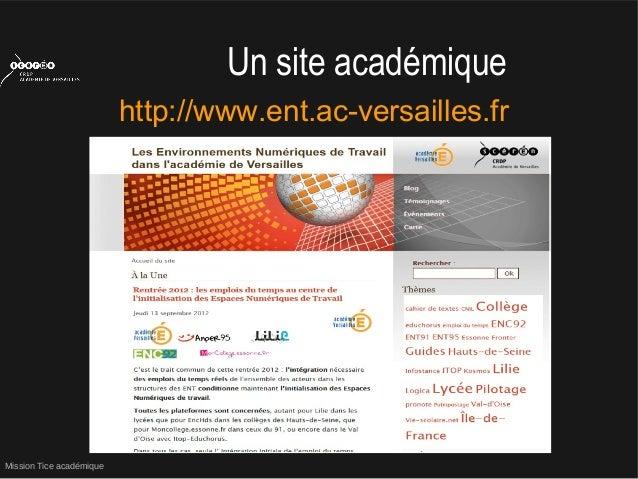 Mission Tice académiqueUn site académiquehttp://www.ent.ac-versailles.fr