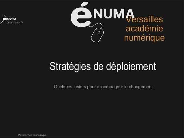Mission Tice académiqueVersaillesacadémienumériqueQuelques leviers pour accompagner le changementStratégies de déploiement
