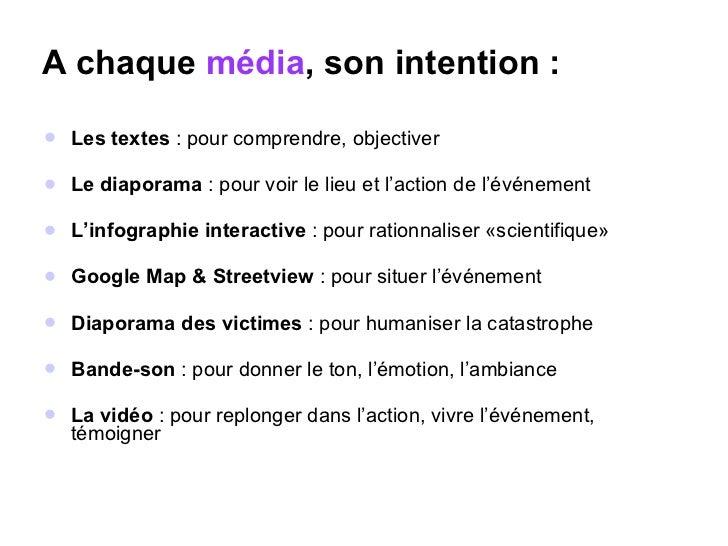 A chaque  média , son intention : <ul><li>Les textes  : pour comprendre, objectiver </li></ul><ul><li>Le diaporama  : pour...
