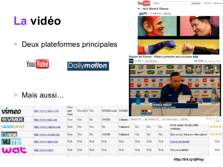 La  vidéo <ul><li>Deux plateformes principales  </li></ul><ul><li>Mais aussi… </li></ul>http://bit.ly/qfHay